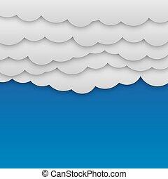 bleu, blanc, papier, nuages, fond