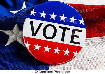 bleu, blanc, vote, rouges, américain, bouton, drapeau