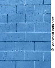 bleu, bloc de mâchefer, ba, mur
