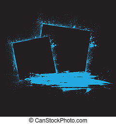 bleu, blots, grunge, encre