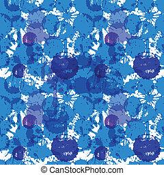bleu, blots, seamless, fond, encre