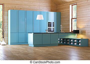 bleu, bois, intérieur, moderne, cuisine