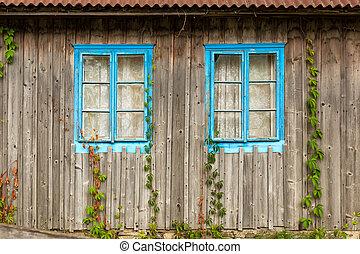 bleu, bois, windows., deux, mur