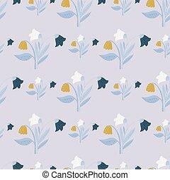 bleu, botanique, flowers., seamless, modèle, nature, jaune, bouquet, lumière, orange, village, forêt, arrière-plan., bourgeons