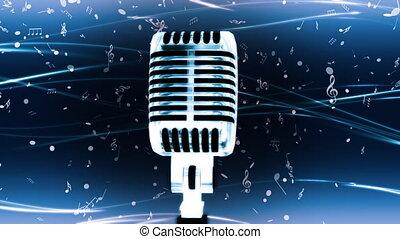 bleu, boucle, mic, musique