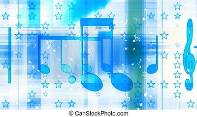 bleu, boucle, musique, blanc