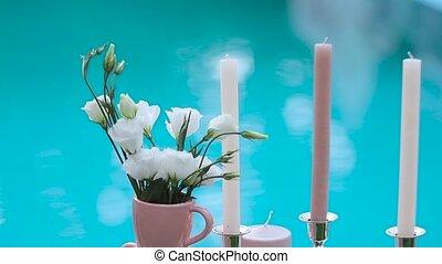bleu, bougies, eau, fond