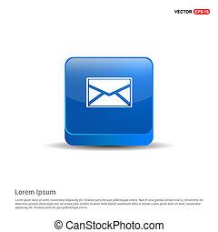 bleu, bouton, -, message, icône, 3d