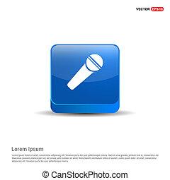bleu, bouton, -, orateur, icône, 3d