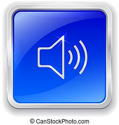 bleu, bouton, orateur, icône
