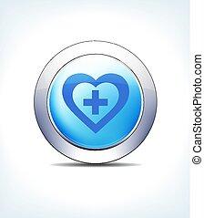 bleu, bouton, vecteur, plus, hart, icône