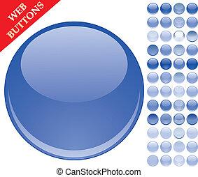bleu boutonne, ensemble, sphères, 49, icônes, illustration, verre, vecteur, lustré, toile
