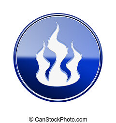 bleu, brûler, isolé, lustré, fond, blanc, icône
