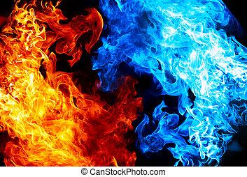 bleu, brûler, rouges