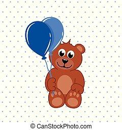 bleu, brun, ballons, ours, teddy