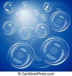 bleu, bulles, sur
