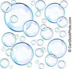 bleu, bulles, transparent, savon