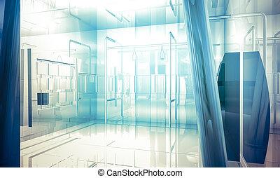 bleu, bureau affaires, espace, fenetres, intérieur, grand, effets, lumière, colonnes, vide, bâtiment.