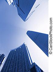bleu, bureaux, bâtiments, tonalité