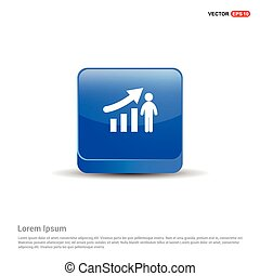 bleu, business, graphique, bouton, -, croissant, icône, homme, 3d