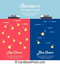 bleu, business, océan, infographic, stratégie, rouges
