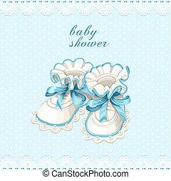 bleu, butins bébé, carte, douche