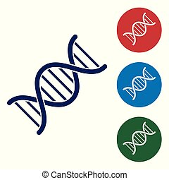 bleu, buttons., ensemble, couleur adn, symbole, isolé, illustration, arrière-plan., vecteur, cercle blanc, icône