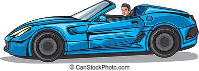 bleu, cabriolet, homme