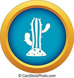 bleu, cactus, isolé, vecteur, icône