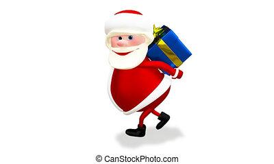 bleu, cadeau, animation, santa, canal alpha, 3d