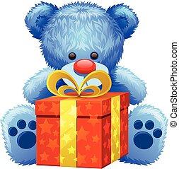 bleu, cadeau, ours, teddy