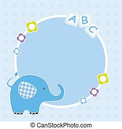 bleu, cadre, éléphant