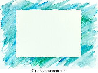 bleu, cadre, aquarelle, coup, vert, brosse, fond