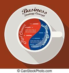bleu, café, business, tasse, stratégie, infographic, océan, rouges