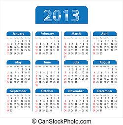 bleu, calendrier, lustré, 2013