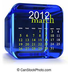 bleu, calendrier, mars