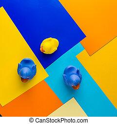 bleu, caoutchouc, jaune, canards