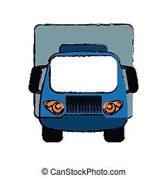bleu, cargaison, croquis, transport, camion, petit