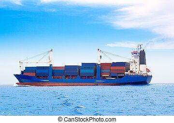 bleu, cargaison, dep, mer, bateau, récipients