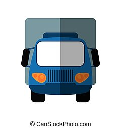 bleu, cargaison, transport, camion, petit, ombre