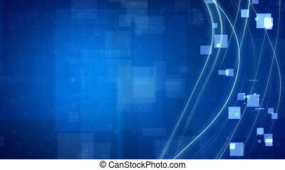 bleu, carrés, lignes, boucle, écoulement