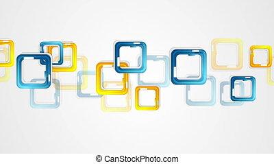 bleu, carrés, mouvement, fond jaune, résumé