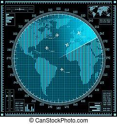 bleu, carte, écran, radar, avions, mondiale
