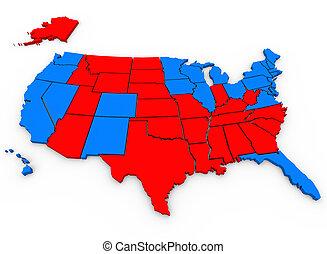 bleu, carte, etats unis, vs, rouges, amérique, présidentiel, élection