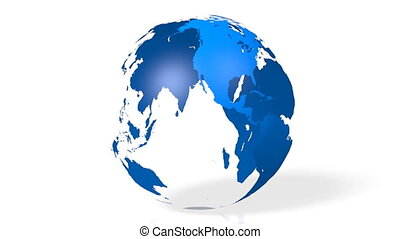 bleu, carte, tout, globe/, continents, mondiale, earth/, 3d