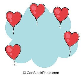 bleu, cartoon., forme, balloon, arrière-plan., coeur, vecteur