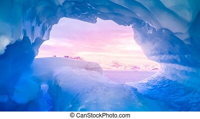 bleu, caverne, glace