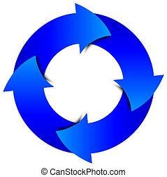 bleu, cercle, vecteur, flèches