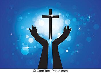 bleu, cercles, concept, chrétien, fidèle, saint, jésus, -, croix, fond, fils, personne, graphique, vecteur, dévot, étoiles, prier, adorer, ou, lord(christ)