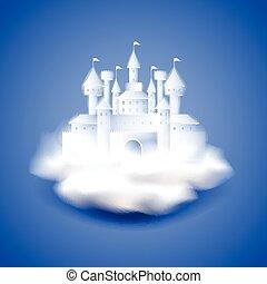 bleu, château, vecteur, fond, air